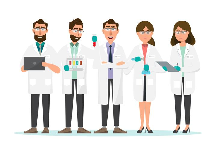 medical concept. Scientists man and woman research in a laboratory lab vector