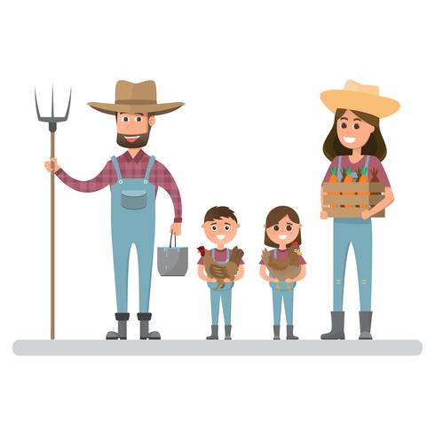 happy farmer family cartoon character in organic rural farm