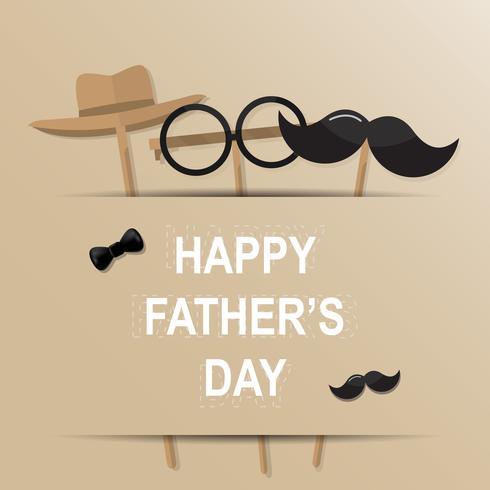 Tarjeta de felicitación feliz del día de padre. Diseñe con la corbata de lazo, bigote, gafas negras sobre fondo de papel retro. vector