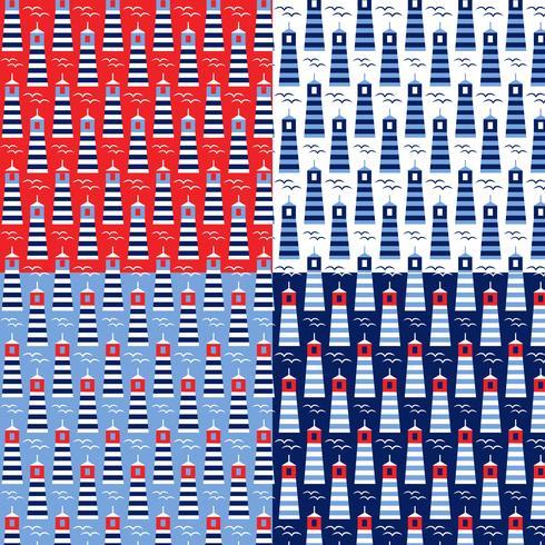 patrones de faro azul blanco rojo transparente