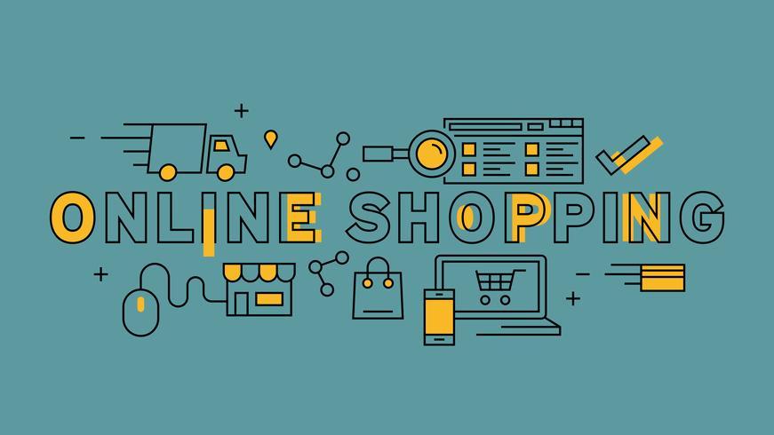 Typographie achats en ligne. Conception de ligne plate orange sur fond bleu. Infographie des affaires et du marketing avec un style de griffonnage jeune