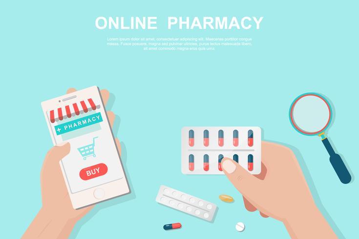 Online apotheekconcept in de vlakke stijl.