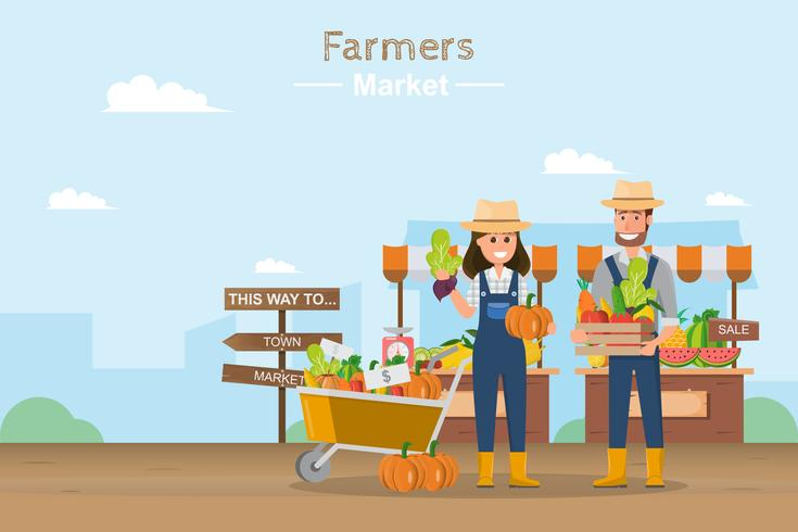 Boerderij winkel. Lokale markt. Fruit en groenten verkopen.