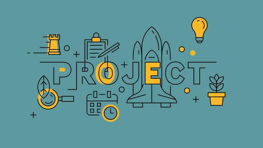 Project Orange in Blue Line Design. Unieke opstart voor de betere wereld en de toekomst. Banner Doodle Concept Illustratie