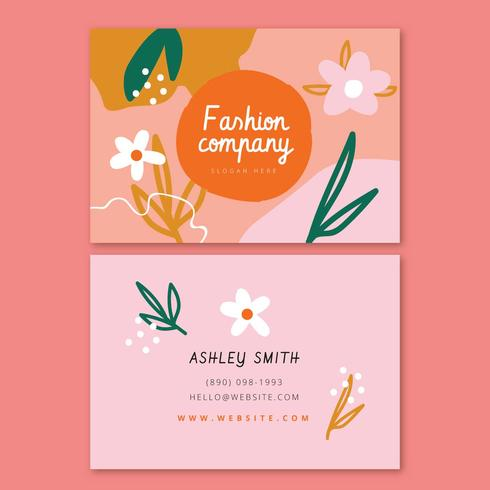 Abstract Flowers And Shapes Business Card vector