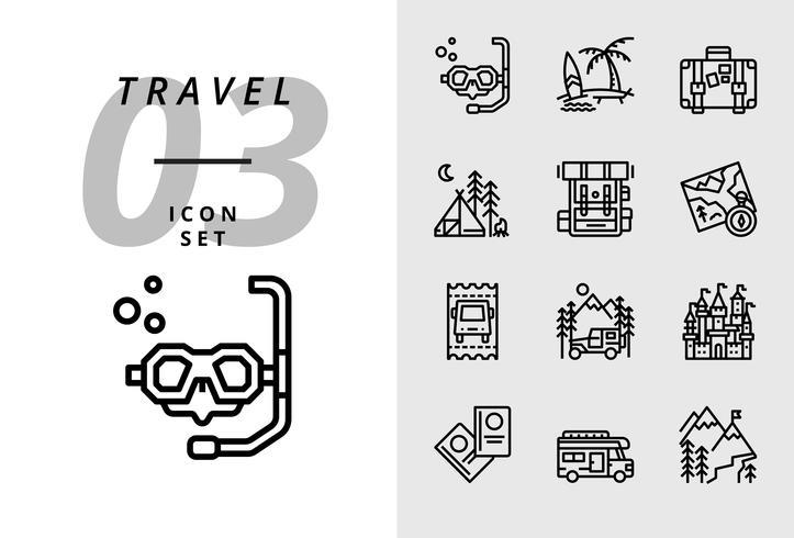 Paquete de íconos para viajes, buceo, playa, maleta, camping, mochila, mapa, boleto de autobús, caravana, castillo, pasaporte, caravana, montaña de hielo.