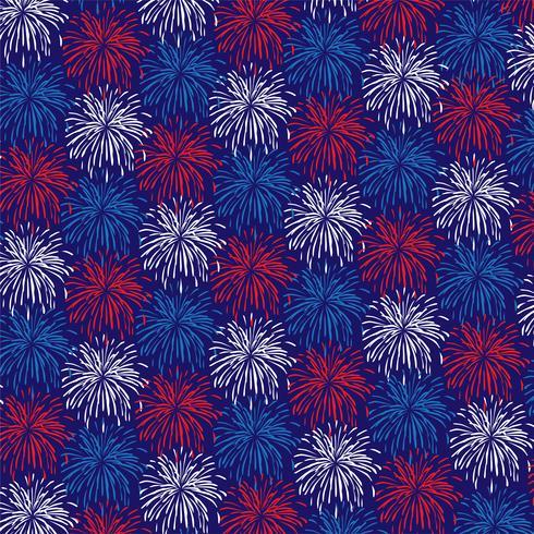 Patrón de fondo rojo blanco azul fuegos artificiales vector