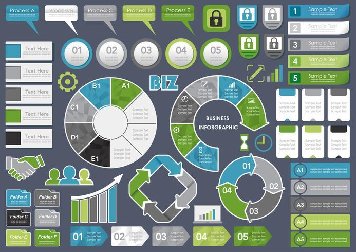 Set van diverse bedrijfsgerelateerde info-afbeeldingen, tags en pictogrammen.