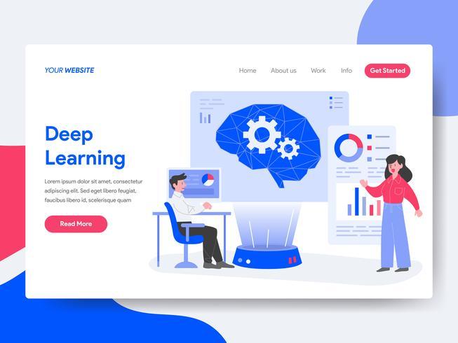 Plantilla de página de aterrizaje del concepto de ilustración de aprendizaje profundo. Concepto de diseño plano isométrico de diseño de página web para sitio web y sitio web móvil. Ilustración de vector