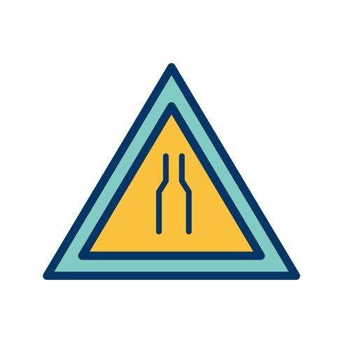 Vector Road se estrecha en ambos lados Icono de signo de carretera