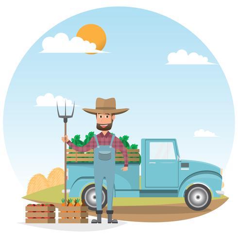 personaje de dibujos animados del granjero con vaca de leche en granja rural orgánica