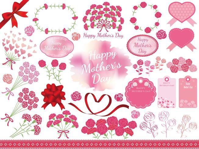 Conjunto de elementos gráficos sortidos para o dia da mãe.
