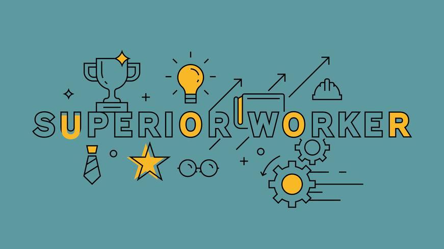 Superieure werker, optimistisch en vol enthousiasme. Oranje vlak lijnontwerp op blauwe achtergrond. Zakelijke infographics met jeugdige doodle stijl