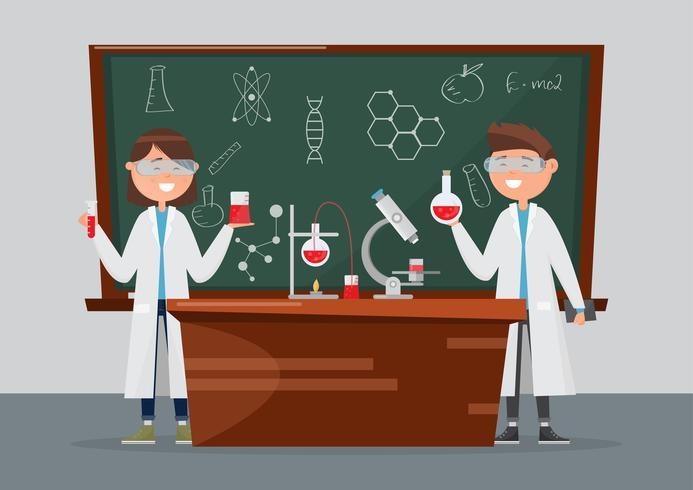 crianças em diferentes personagens. pesquisa escolar em química e ciência. vetor
