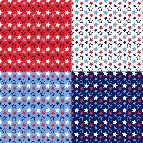 padrões de estrelas azuis brancos vermelho sem emenda