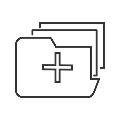 Icône de dossier médical ligne noire