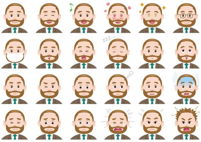 Businessman various expressions set.