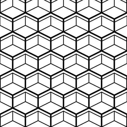 Seamless Pattern med Black Line Hexagons vektor