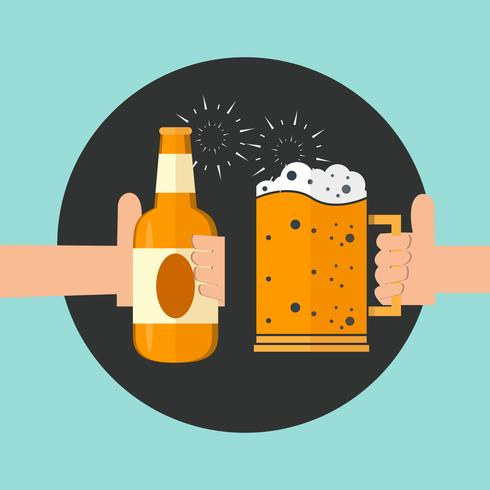 Deux mains tenant l'icône de verres de bière mousseuse de grillage.