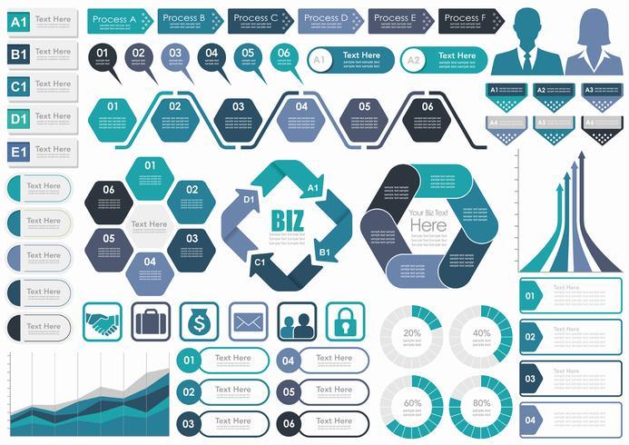 Reeks geassorteerde bedrijfs-gerelateerde die info-grafiek, markeringen, en pictogrammen op witte achtergrond wordt geïsoleerd.