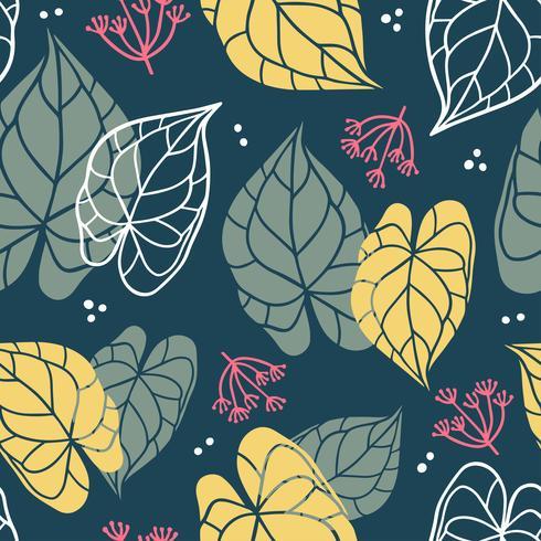 Modello senza cuciture floreale di foglie in stile piano.