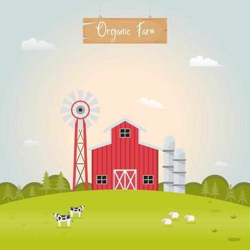 Agricultura com casa de celeiro e animais de fazenda.