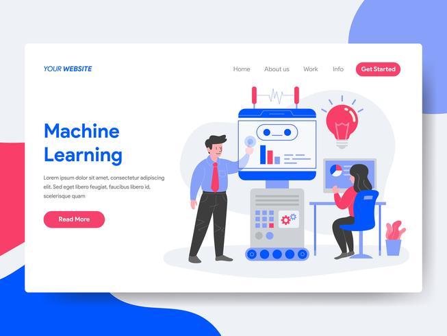 Modelo de página de aterrissagem do conceito de ilustração de aprendizado de máquina. Conceito de design plano isométrico de design de página da web para o site e site móvel.