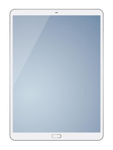 Tabletcomputer op witte achtergrond wordt geïsoleerd die. vector
