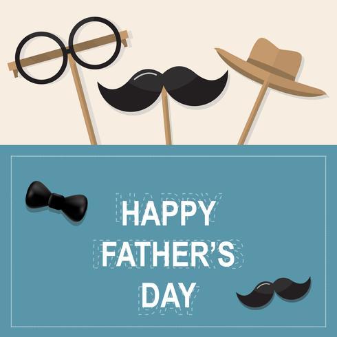 Grattis på födelsedag hälsningskort. Design med slips, mustasch, svarta glasögon på retro pappersbakgrund.