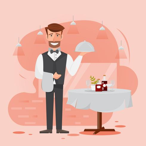waiter man serving food in the restaurant. vector