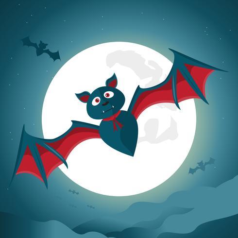 Halloween-nachtachtergrond met grote knuppel onder het maanlicht.