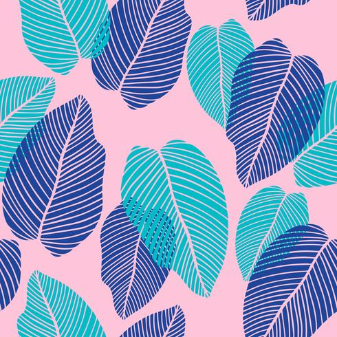 Floral seamless pattern of tropical leaves in flat style. vector