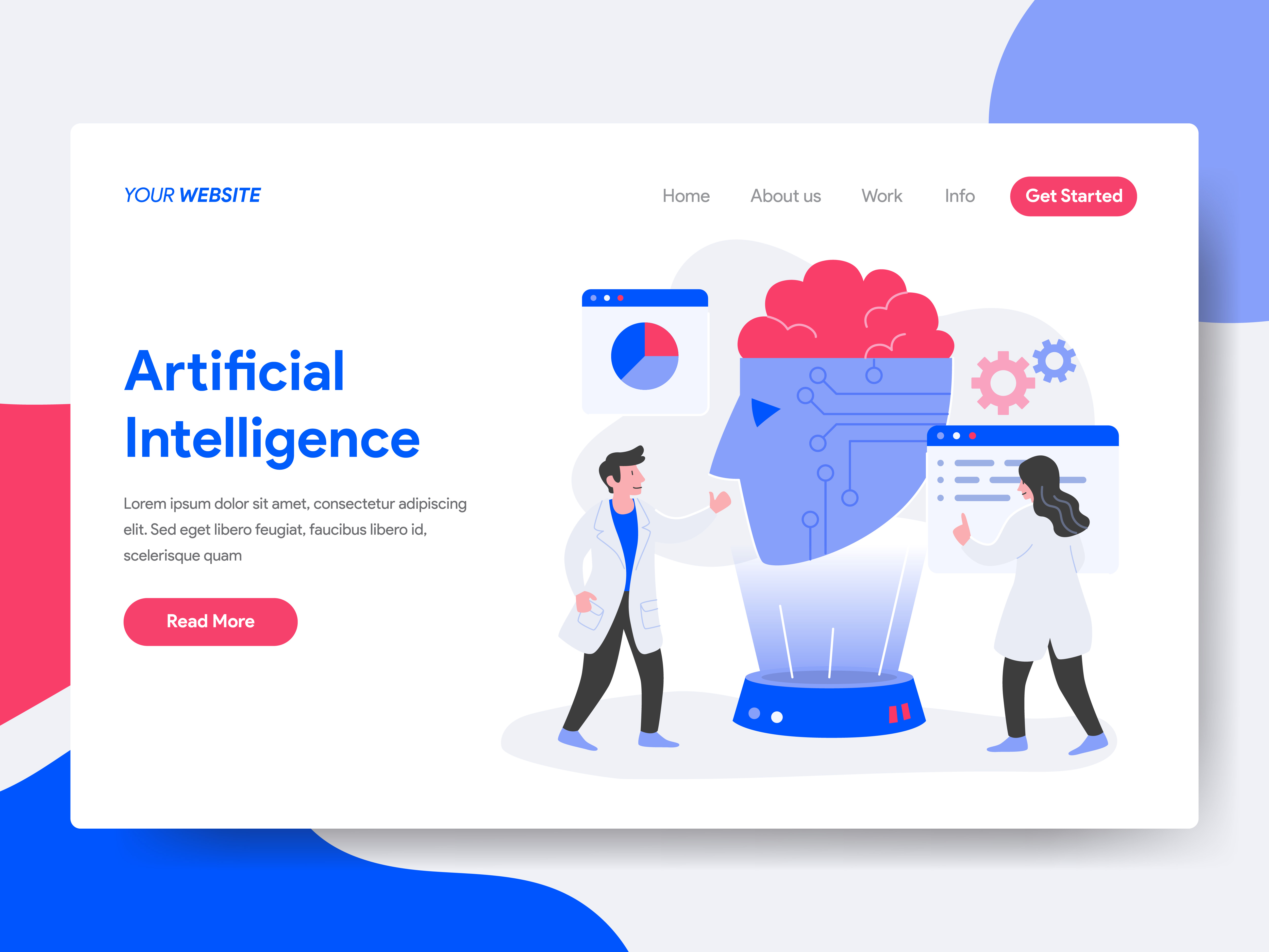 Vector Illustration Web Designs: Landing Page Template Of Artificial Intelligence