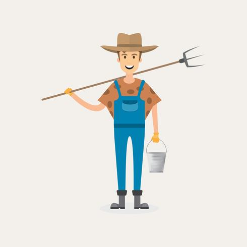 personaje de dibujos animados del granjero aislado sobre fondo blanco