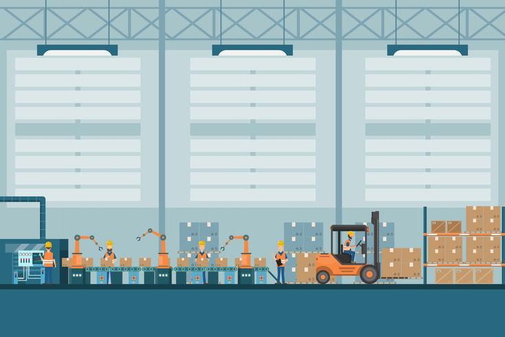slimme industriële fabriek in een vlakke stijl met arbeiders, robots en assemblagelijnverpakking