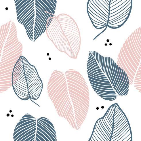 Blommigt sömlöst mönster av löv i platt stil.