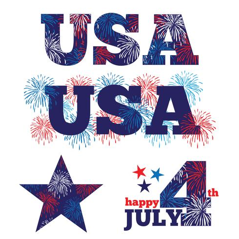 USA graphics with fireworks vector