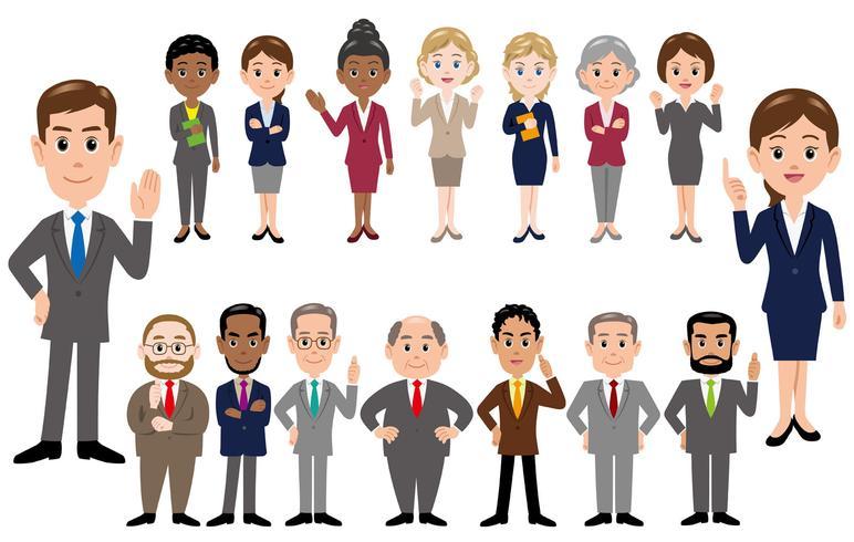 Conjunto de trabalhadores de escritório em poses diferentes, isolado no fundo branco. vetor