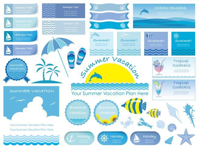 Conjunto de surtido de información de gráficos de verano, tarjetas e iconos aislados sobre fondo blanco.