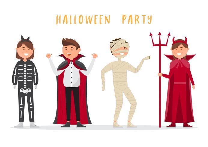 Crianças de Halloween usam fantasia para festa. Grupo de crianças isoladas no fundo branco.