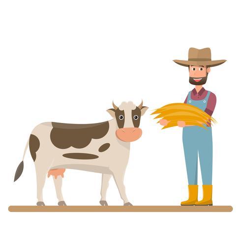 Granja lechera, agricultora da paja para vaca lechera.