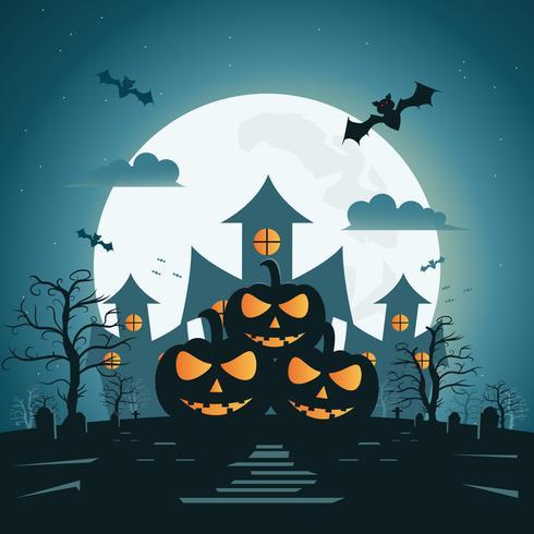 Fondo de noche de Halloween con calabaza y castillo oscuro