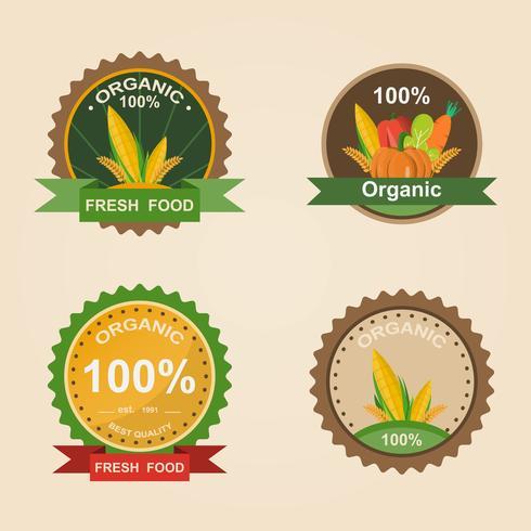 Producto Fresco Orgánico. Logotipo de la ilustración del vector. Insignia de granja fresca.