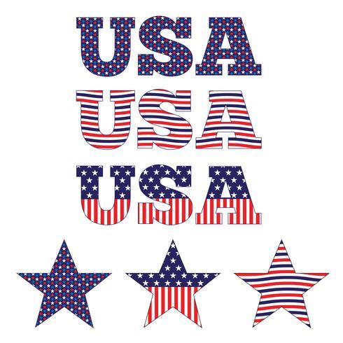 EUA e estrelas azuis brancos vermelhos vetor