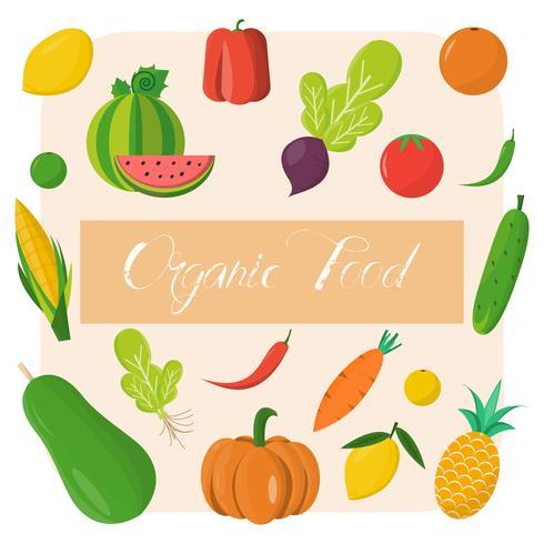 Bio-Lebensmittel-Vorlage. Vektorillustration, Satz Gemüse und Früchte