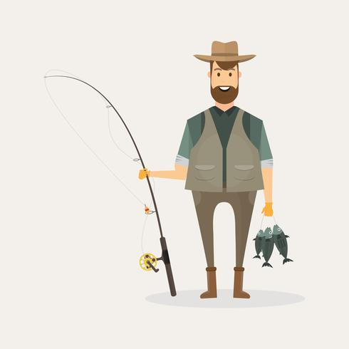 Il carattere del pescatore che tiene un grande pesce e una canna da pesca con il lago e il paesaggio fluviale vettore