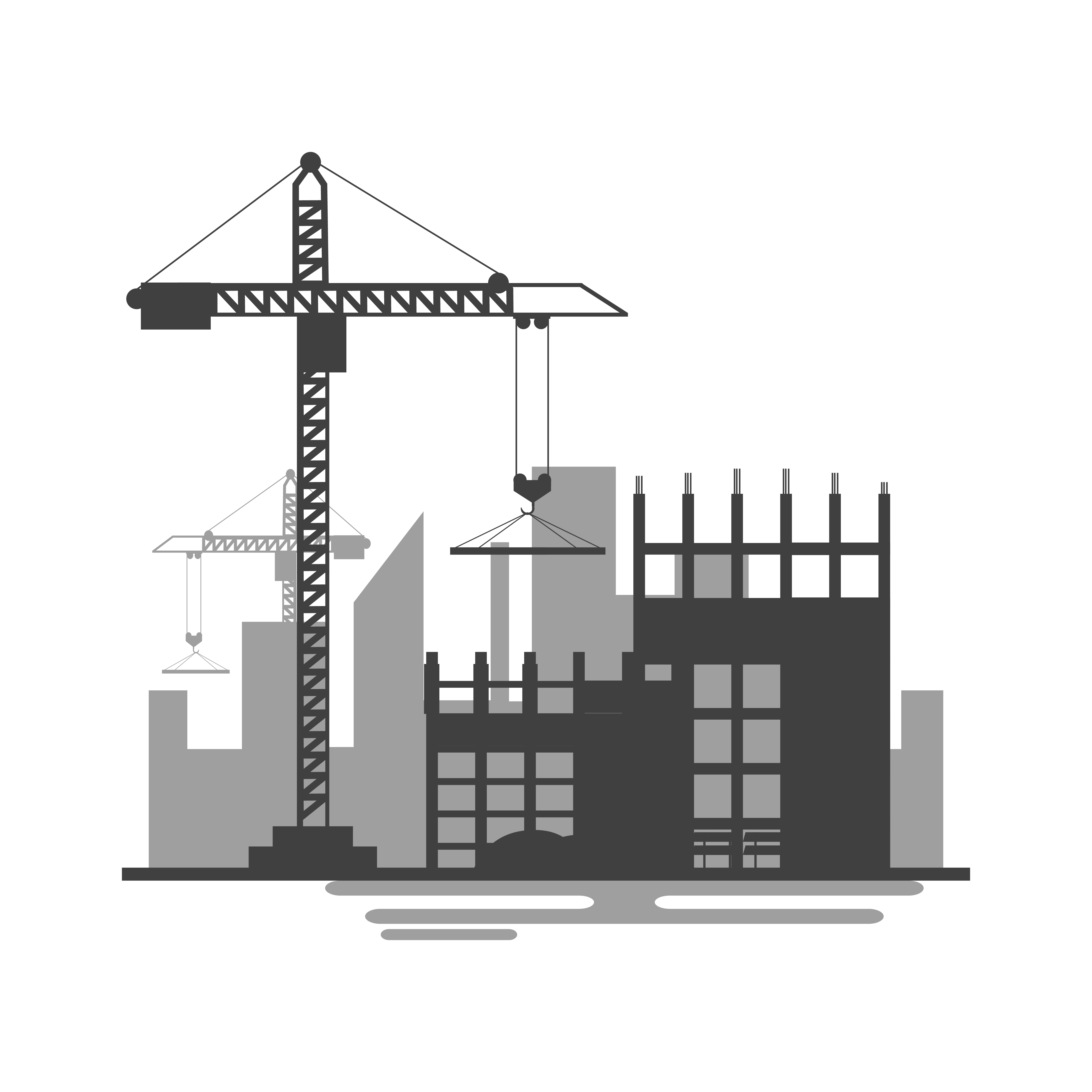 Building site work process under construction with cranes ...