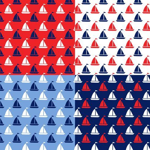 padrões de barco azul branco vermelho sem costura vetor