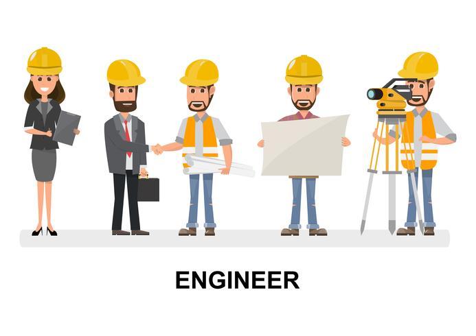 Burgerlijk ingenieur, architect en bouwvakkers tekens groep. Cool vector platte ontwerp bouwteam personages line-up.
