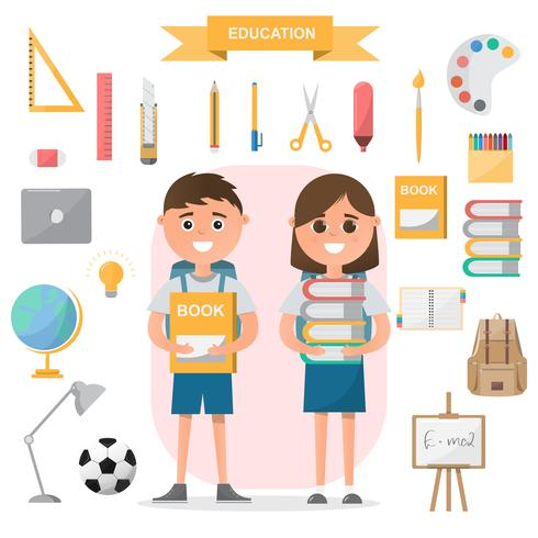 Education concept. students standing with classroom objects on flat design